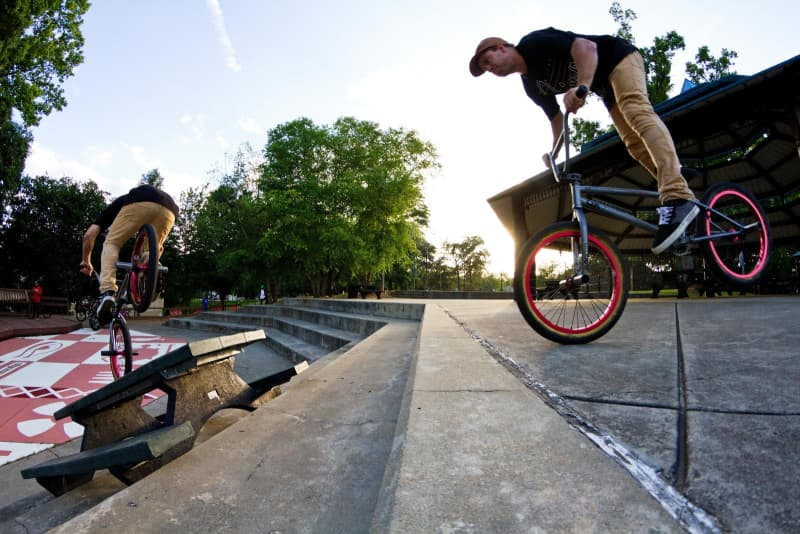 doing tricks with pro level bmx