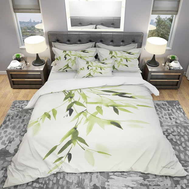 bamboo white bedding set with green leaves