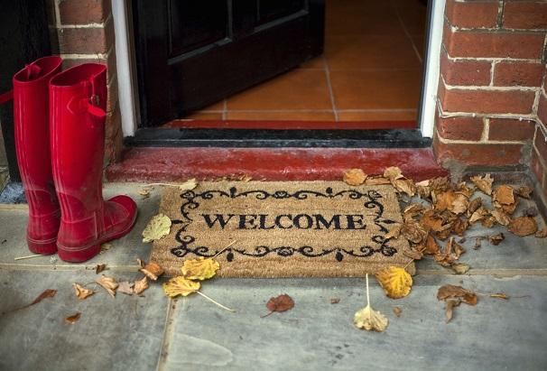 Doormat in welcome pattern